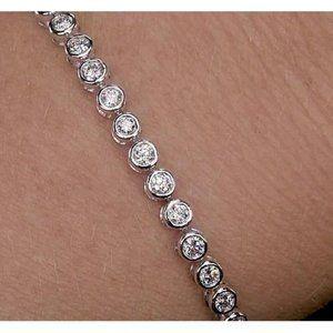 Studs Earrings Diamonds Ladies White Gold 3.40 Car